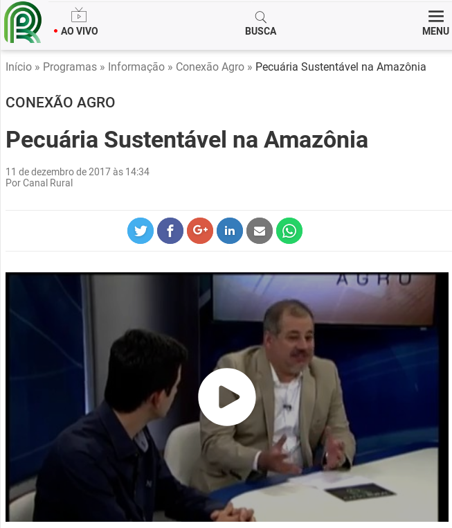 print do site Canal Rural
