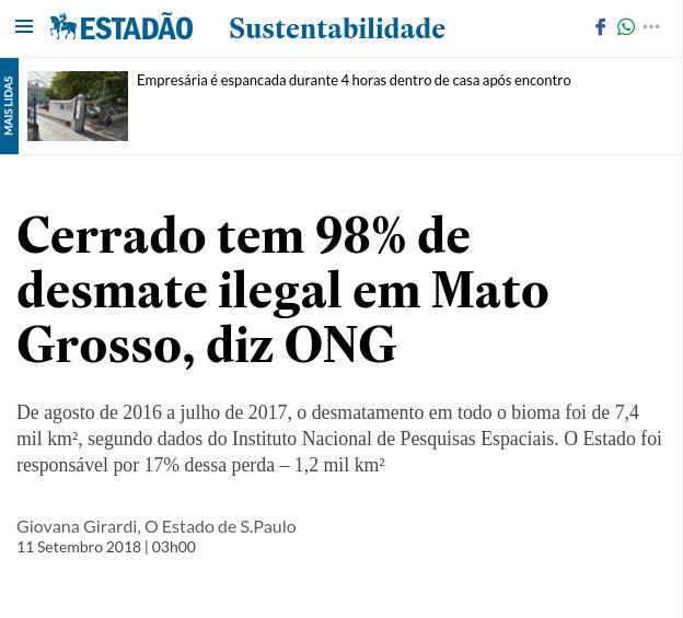 print tela do site jornal estado de são paulo