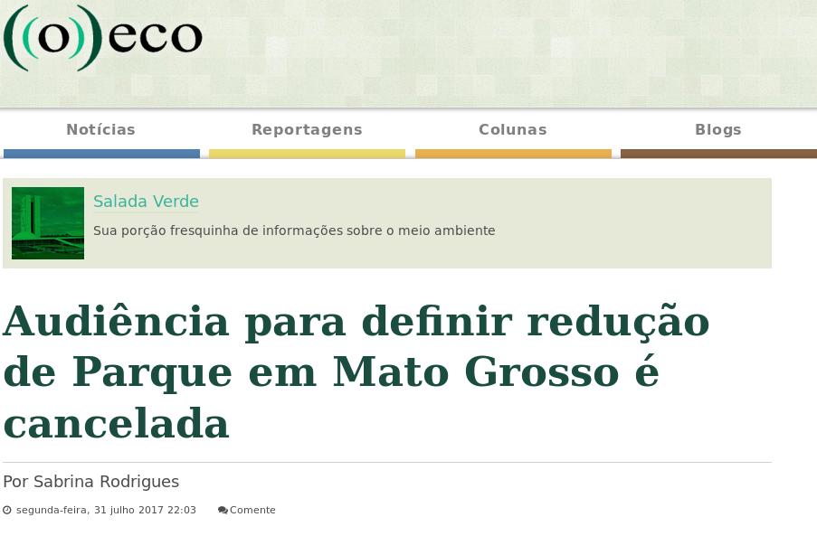 print tela do site O Eco