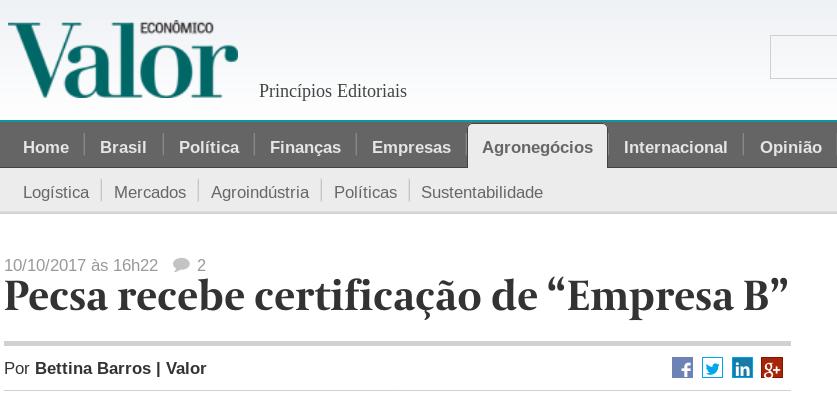 print do site do jornal Valor Econômico