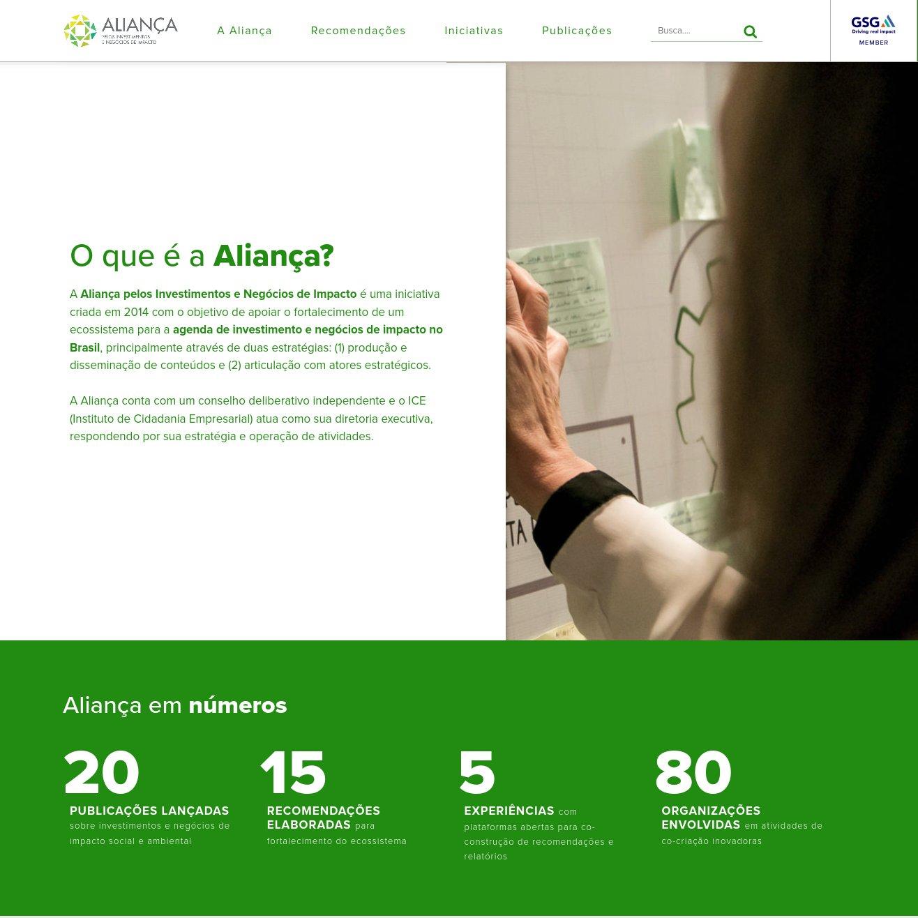 imagem da capa do site da Aliança pelo Impacto